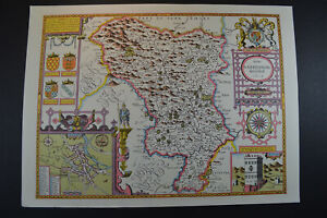Vintage decorative sheet map of Derbyshire Buxton Derby John Speede 1610