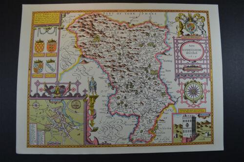 Vintage decorative sheet map of Lancaster Lancashire John Speede 1610