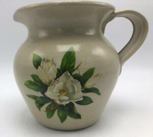 Magnolia Blossom Pitcher by Casey Pottery 1 Quart Hand Made Marshall Texas USA