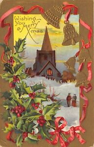 Merry-Xmas-Christmas-1910-Embossed-Postcard-Gold-Bells-Holly-Church-Snow