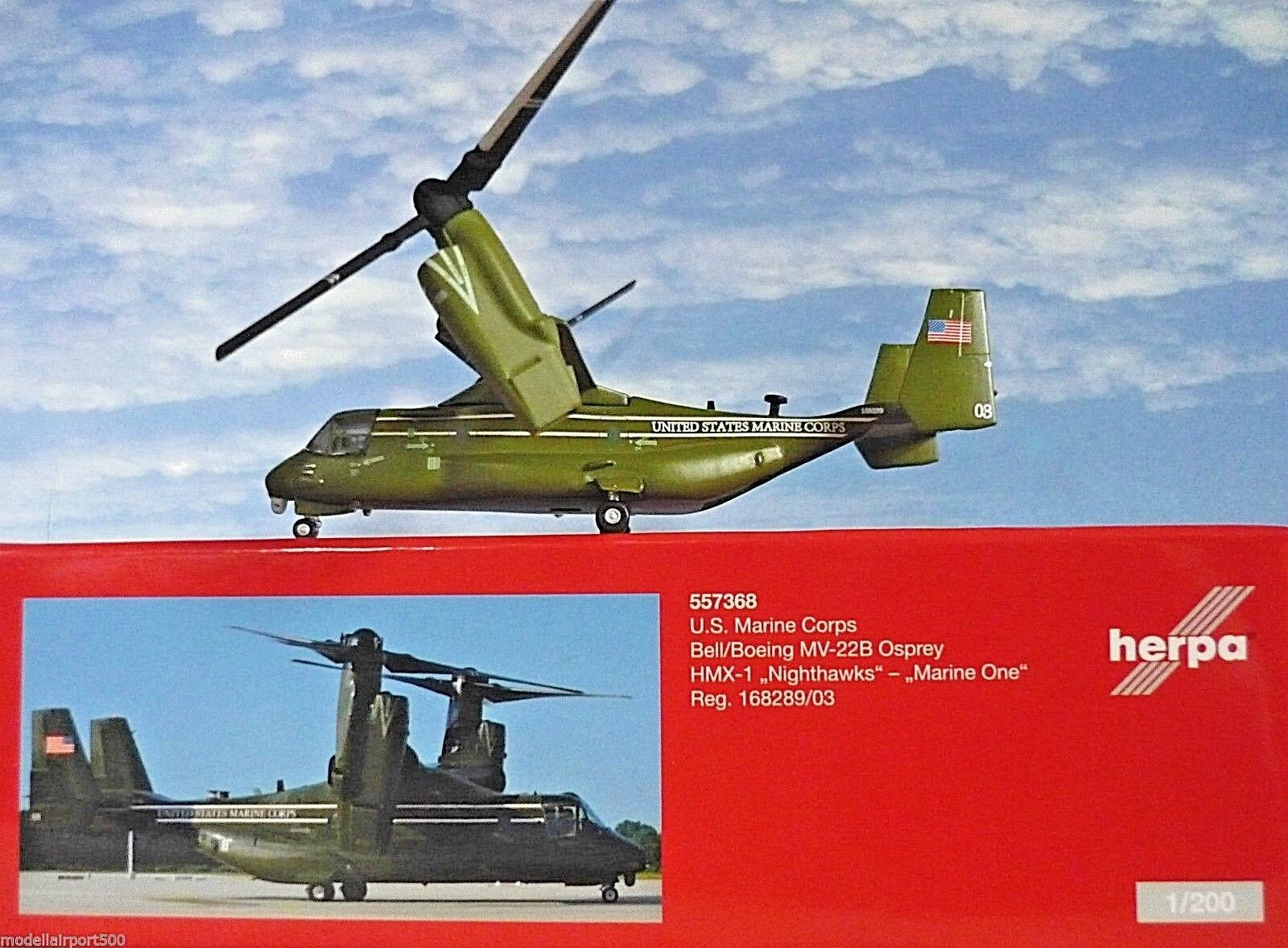 Herpa Wings 1 200 Boeing Mv 22b Osprey U.S.Marine un 557368