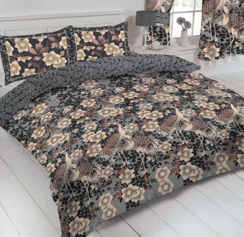 Héron Cendré OISEAUX Floral Parure de couette choix de simple double king size OU rideaux