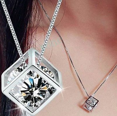 Fashion Women's Silver Plated Chain Crystal Rhinestone Necklace Pendant Jewelry