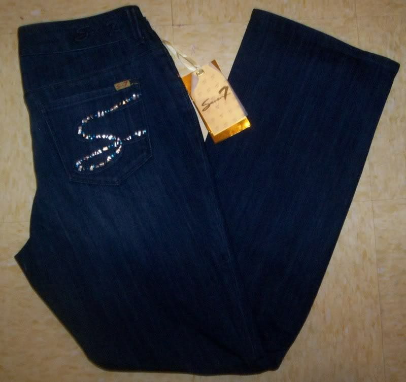 NWT SEVEN 7 DARK WASH CRYSTAL JEANS WOMEN'S 14 16 22 24