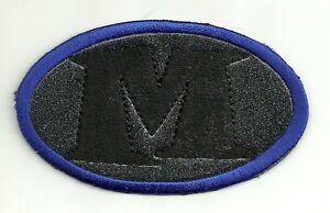 Bleu Noir Perle Ovale Lettre M à Repasser à Coudre Patch