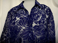 Chico's Semi Sheer Navy Floral Burnout Blouse Mini Button Front V-Neck Sz 3 L