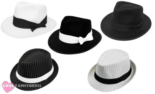 ADULT GANGSTER HAT 1920/'S FANCY DRESS TRILBY AL CAPONE GATSBY COSTUME ACCESSORY