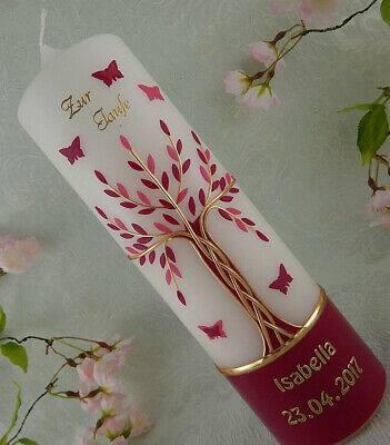 Taufkerze Kommunionkerze Lebensbaum rosa silber mit Schmetterlingen für Mädchen