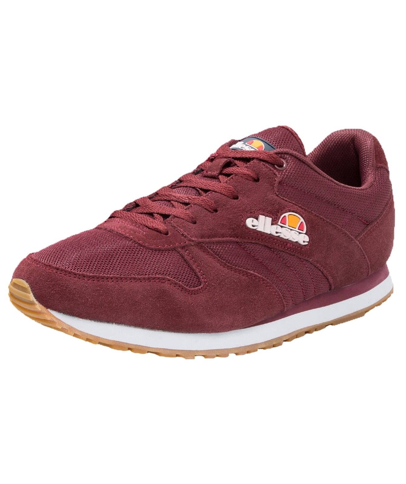 Ellesse Runner Low Canvas Fashion Shoes Casual Trainers Suede Burgundy Red