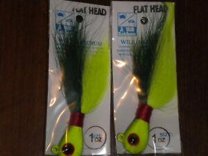 LOT OF  2-2 OZ   FLAT HEAD CHROME BUCK  TAIL   4 Striper,Flounder,Fluke,Trout