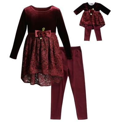 """Girl 5-14 and 18/"""" Doll Matching Aqua Lace Tunic Leggings Outfit ft American Girl"""