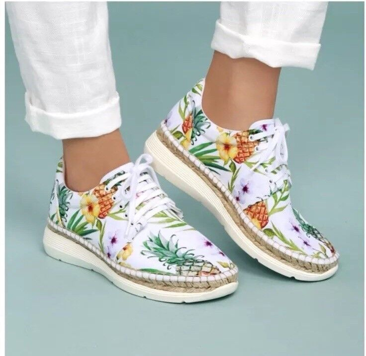 Free People Jackson Pineapple Tropical Palm Espadrille Sneakers 39 NWOB
