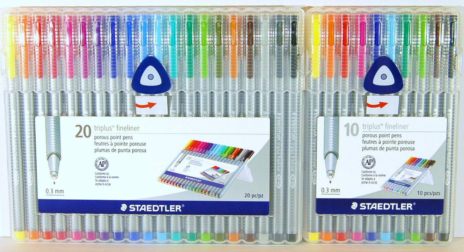 Box of 10 0.3 mm Ultramarine Blue Staedtler 334 Triplus Fineliner Superfine Point Pens