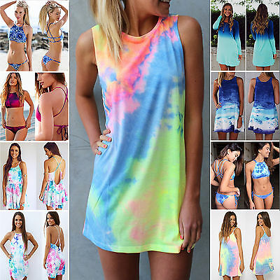 Womens Tie Dye Shift Dress Cover Up Bikini Sundress Blouse Skirts Swimwear Shirt