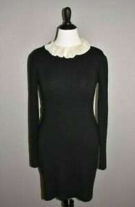 AZZARO $2,495 Black Silk Cashmere Sheath Dress Ruffle Neck Size 12