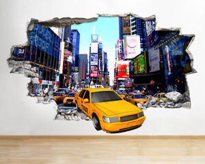 R yellow taxi new york city smashed wall decal d art stickers