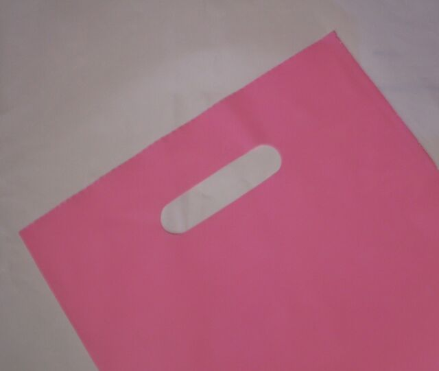 100 Plastic Gloss Pink Carry Gift Party Bags with Die Cut Handle 380(H)x250(W)