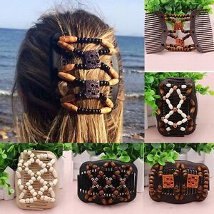 African-Trend-Hairclip-Haarklammer-Haarspange-Haarkamm-Holz-Perlen-Comb-Haarkamm