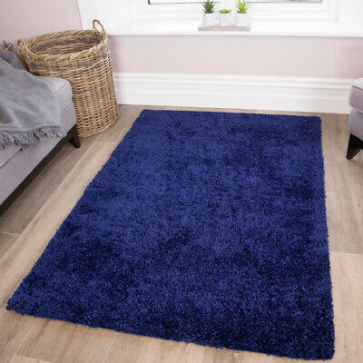 Navy Blue Shaggy Rugs Best Non Shed Living Room Rug Soft Cosy Thick Bedroom Mat Ebay