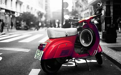 Red Vespa Scooter Canvas Stretched Wall Art Poster Print Lambretta Bike