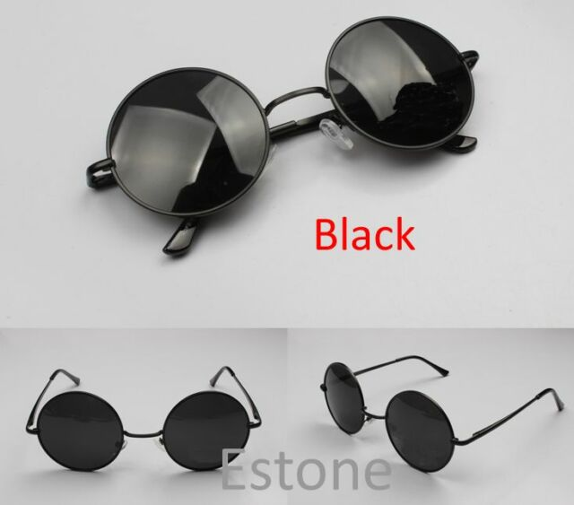 Black Lens Men Women Vintage Retro Round Metal Frame Sunglasses Glasses Eyewear