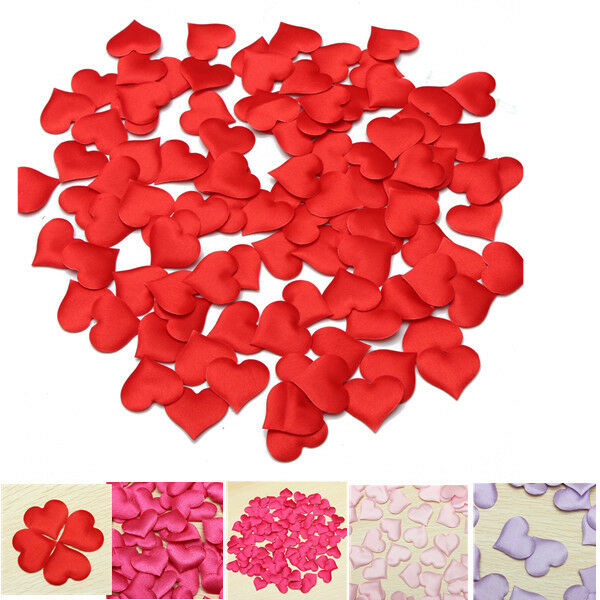 100 Padded Satin Heart Wedding Decor Table Scrapbooking Card Making Scatters