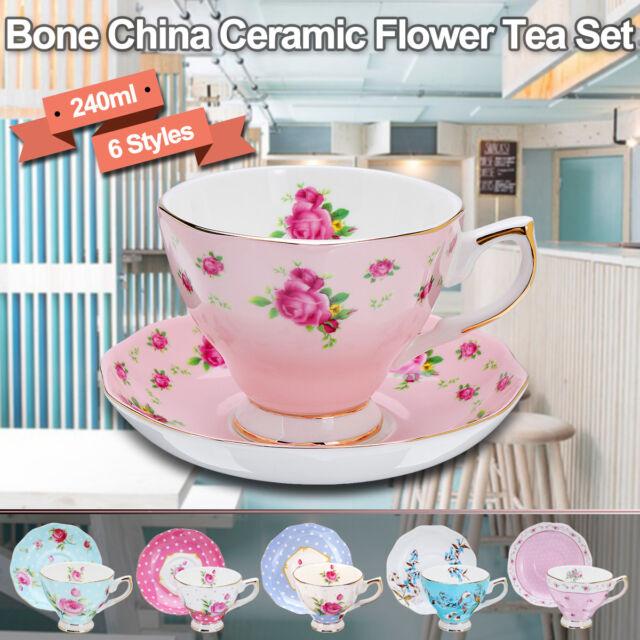 2Pcs Osso Cina Inglese Fiore Tè Tazza di Caffè Porcellana Piattino Ceramica Set