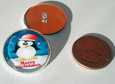 Merry Christmas Penguin Glass Dome Button collectible shank style sew or pin on