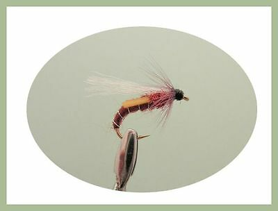8 Pack Black /& Red Emerger Trout Fly Mixed Size 10//12//14 Fishing Flies