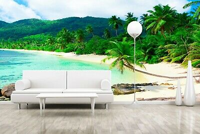 3D Ocean Beach Coconut Tree Wallpaper Self-adhesive TV Background Wall Murals