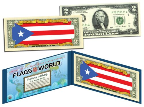 Bill PUERTO RICO Genuine Legal Tender Bank Note FLAG SERIES $2 U.S