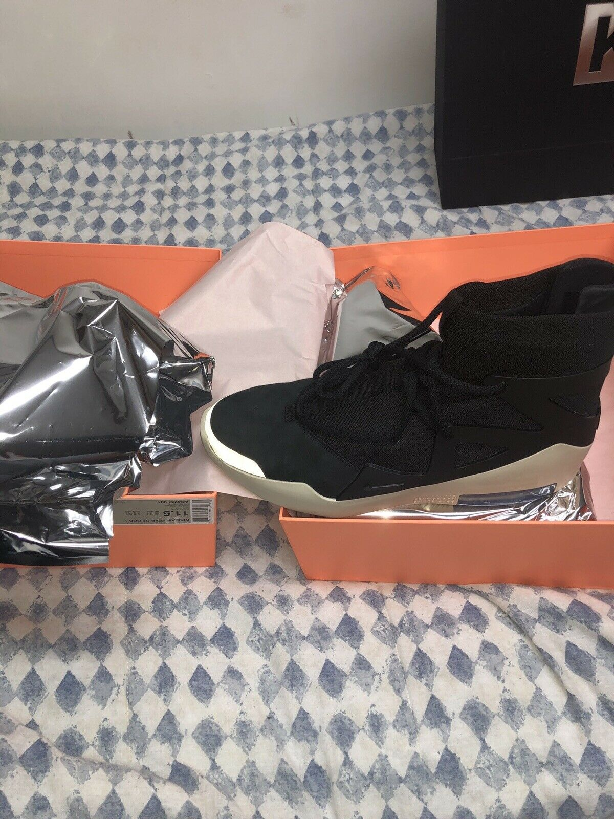 Nike Air Fear Of God 1 Size 11.5 Black New