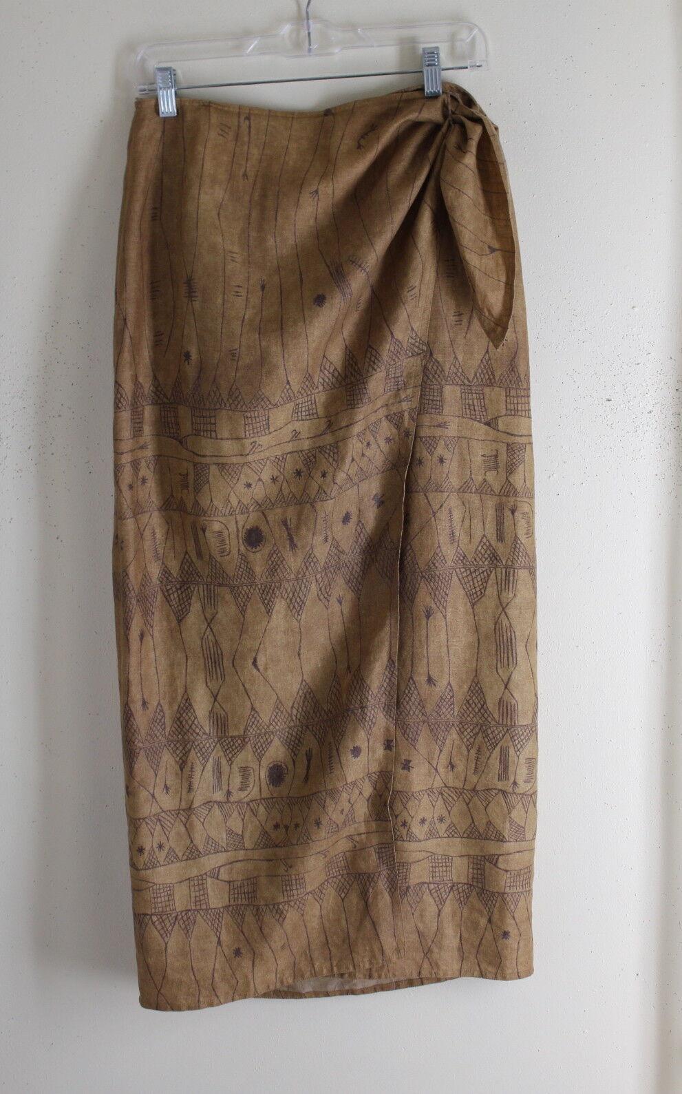 Ralph Lauren Sz 10 Art-Wear Tribal Print Linen Lagenlook Flax Rich Nutmeg Skirt