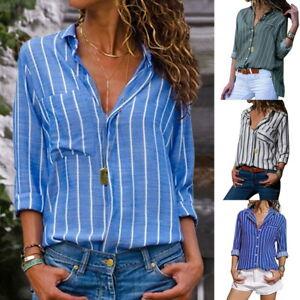 f19f658ea6da Details zu Autum Damen Streifen Bluse Business Shirt Button Down Oberteile  Tops Langarm