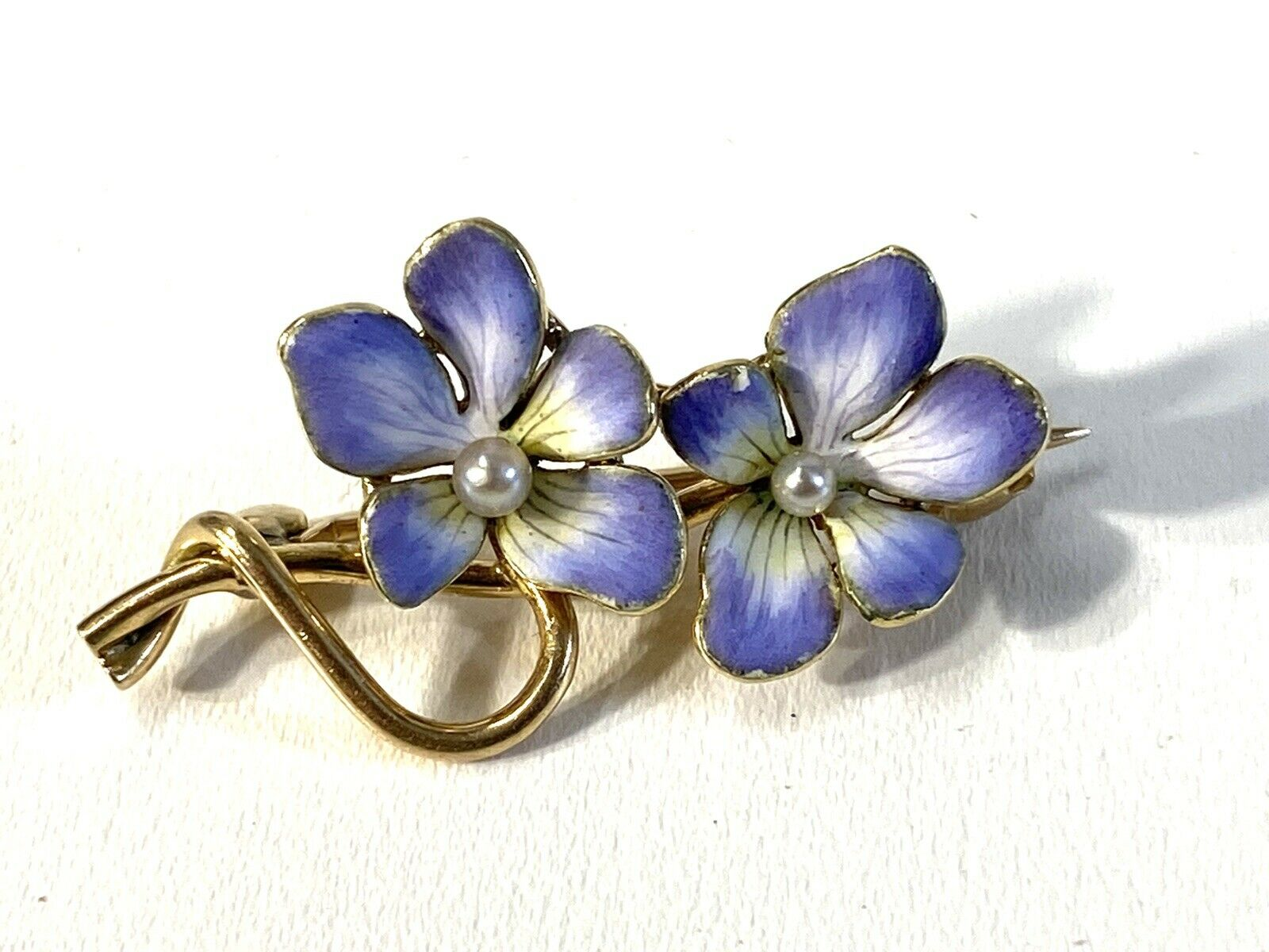 Antique Hammerman Brothers Enamel Pearl Two Pansy… - image 1