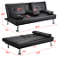 Modern-PU-Leather-Sofa-Bed-Futon-Durable-Black-With-Cup-Holders-amp-Pillows thumbnail 13