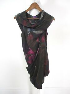 Womens Stunning £148 Poison Draped Print Hummingbird All Silk Tunic Top 6 Saints rrPOdwqg