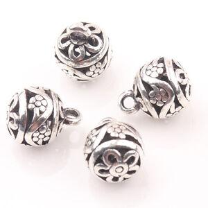 100pcs Tibetan Silver Spacer Loose Charm Metal Bead Jewelry Flower 12x12x2mm HC