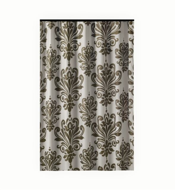 Extra Long Shower Curtain 72 X 78 Inch Gamma Brown And White Baroque Fabric