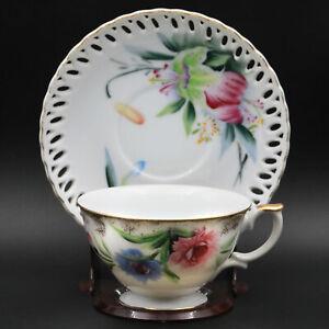 Vintage EW Princes China Porcelain Floral Hand Painted Tea Cup Saucer Gold Trim