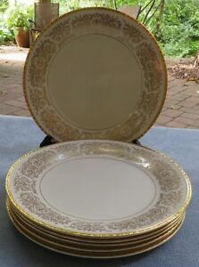 SIX-Pickard-Tiara-Gold-Dinner-Plates