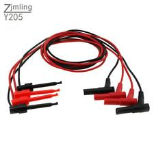 4x Safety Banana Plug Toggle Test Hook Clip Probe Cable For Multimeter Black Red