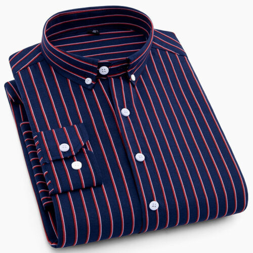 Men Striped//Checked Shirt Long Sleeve Button Down Collar Casual Top Basic Formal