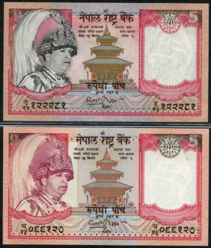 NEPAL  5  RUPEES 2002//2005 UNC  P 46+53  Set 2 pcs