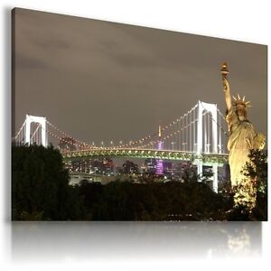 NEW-YORK-CITY-STATUE-OF-LIBERTY-View-Canvas-Wall-Art-Picture-Large-L99-X-MATAGA