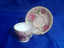 Vtg AYNSLEY FOOTED CUP & SAUCER Pink Roses, Pink Background, Scallop, Gold Ring