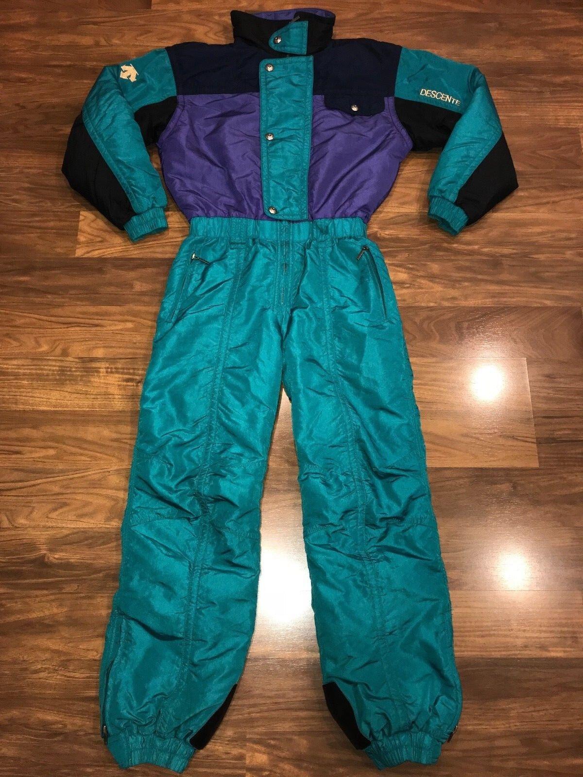 Vtg 80s 90s DESCENTE Womens Small SKI SUIT One piece Snow Bib Coat Snowsuit S