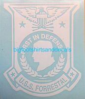 Uss Forrestal Cva 59 Cv 59 Window Decal Aircraft Carrier Navy Med Cruise Sticker