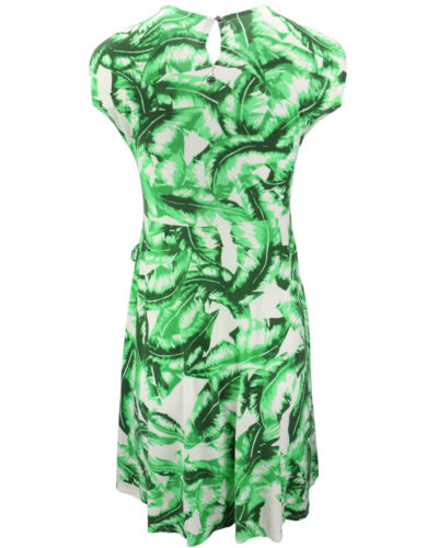 KHUJO Damen Kleid AGLAIA weiß grün Palmen-Print Wickel-Optik Shirtkleid Sommer