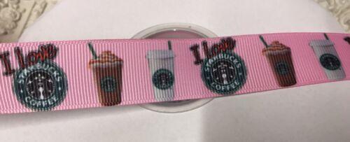 New 1 Metre I Love Starbucks Coffee Pink Print Grosgrain Ribbon 22mm Cakes Bow